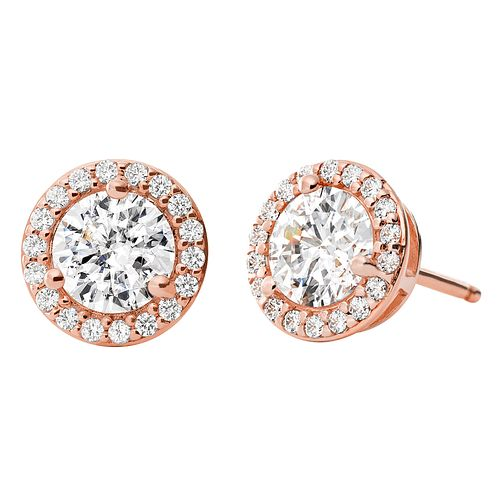0ea5520645b3 Michael Kors 14ct Rose Gold Plated Silver Halo Stud Earrings - Product  number 9801650