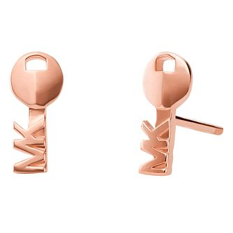 Michael Kors 14ct Rose Gold Plated Silver Key Stud Earrings - Product number 9801731