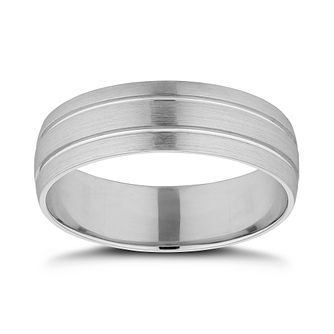 Platinum 6mm Double Groove Wedding Band - Product number 9803408