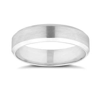 Platinum 5mm Matt & Polished Wedding Band - Product number 9803572