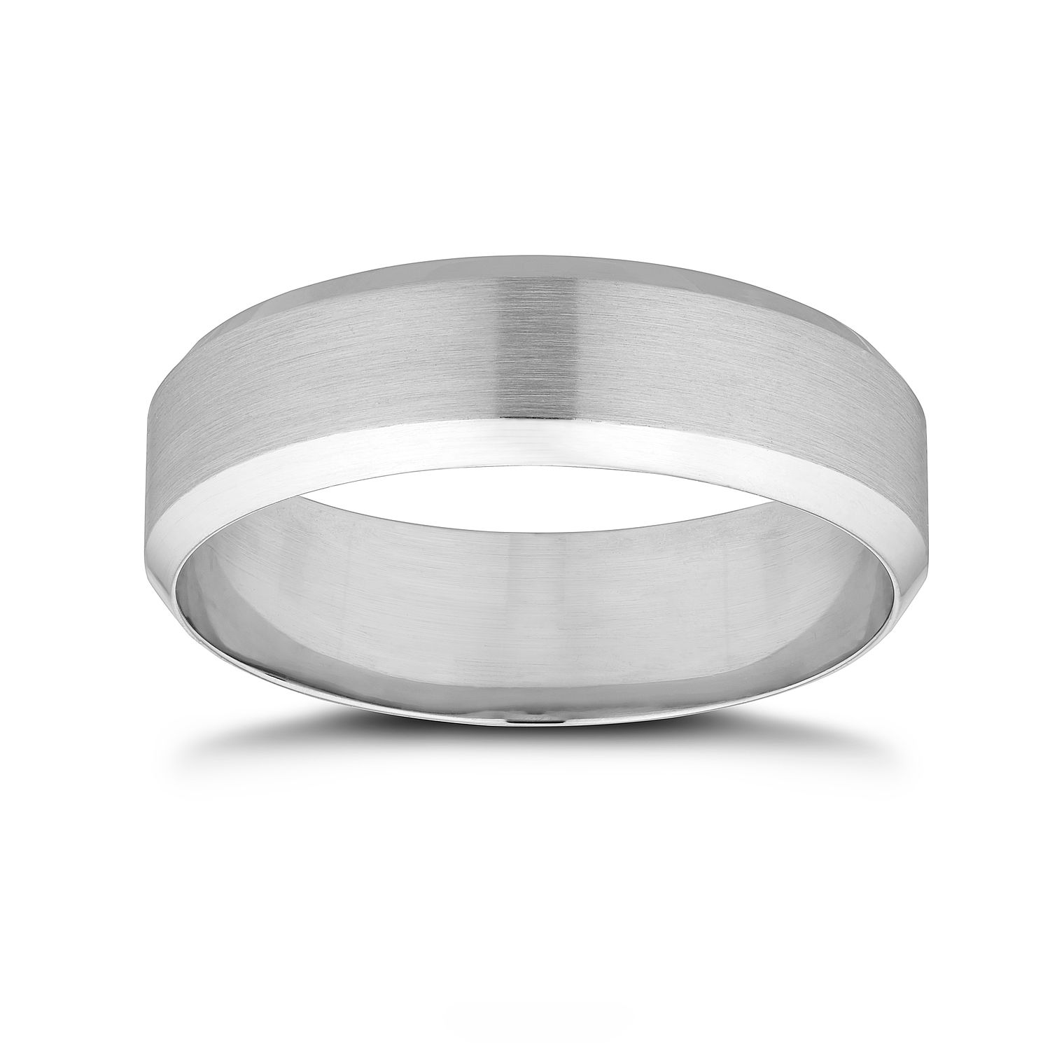 Platinum 6mm Matt & Polished Wedding Band - Product number 9803874
