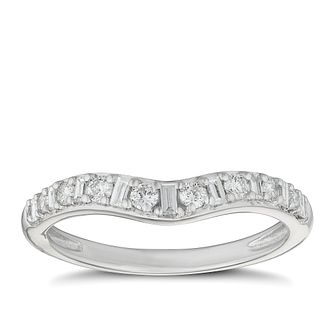Platinum 1/4ct Diamond Set Shaped Wedding Ring - Product number 9804854