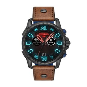 Diesel On Men's Brown Leather Strap Touchscreen Smartwatch - Product number 9805079