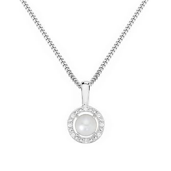 Silver Rhodium Plated Button Pearl & 0.02ct Diamond Pendant - Product number 9805486