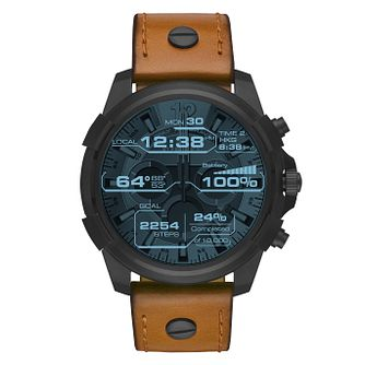 Diesel On Brown Leather Digital Dial Smartwatch - Product number 9805664