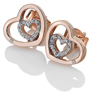 Hot Diamonds Rose Gold Plated Topaz Adorable Heart Earrings - Product number 9806393