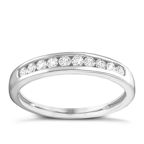 9ct white gold 1/4ct diamond channel set eternity ring - Product number 9806733