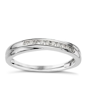 9ct white gold 1/10ct diamond crossover eternity ring - Product number 9806865