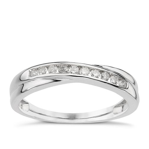 9ct white gold 0.15ct diamond crossover eternity ring - Product number 9807004