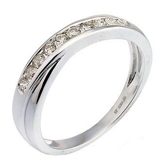 9ct white gold 1/4ct diamond crossover eternity ring - Product number 9807144