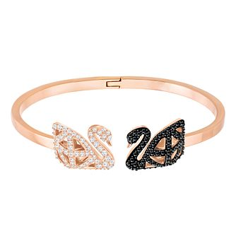 Swarvoski Ladies Rose Gold Plated Swan Double Bangle - Product number 9807888