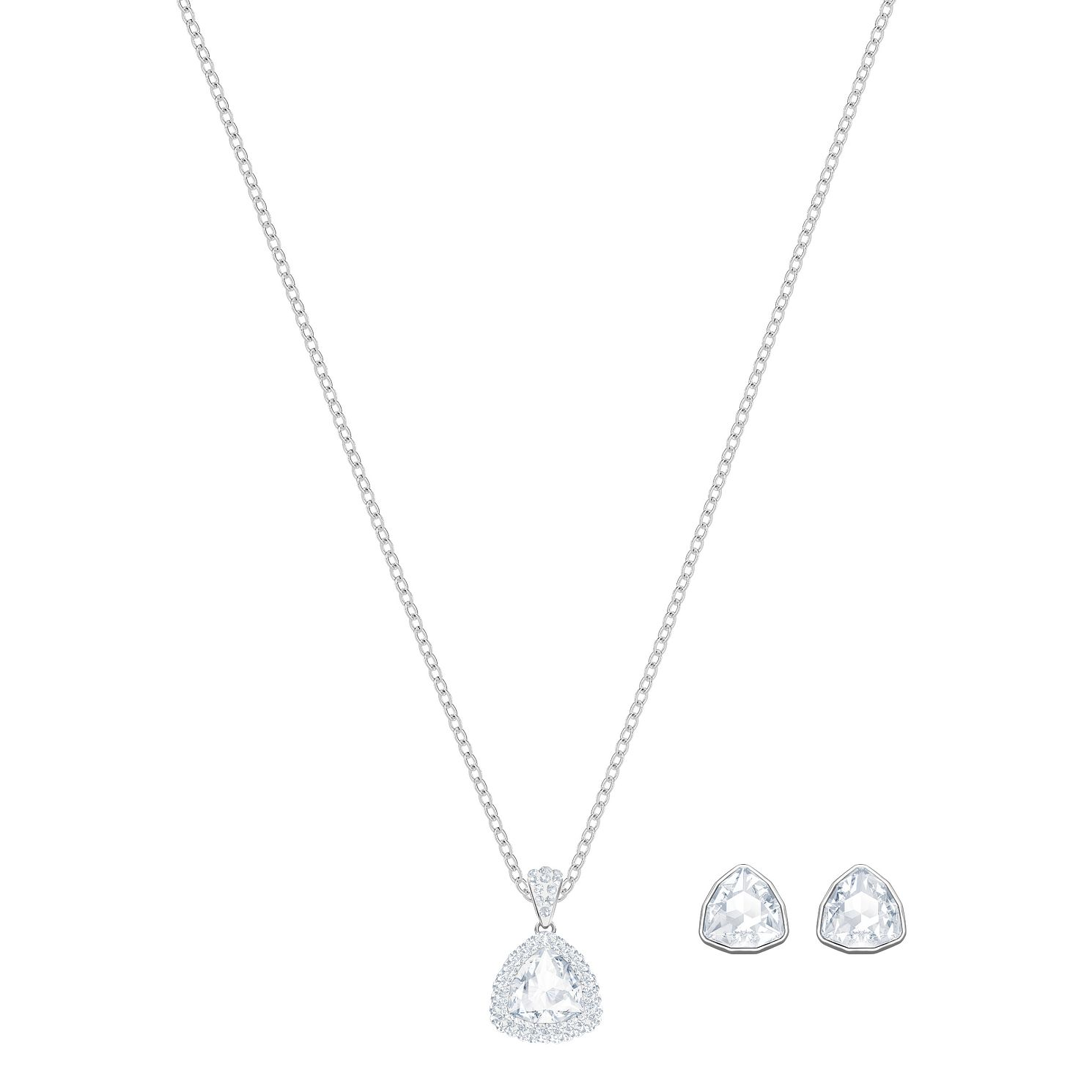 Swarvoski Ladies' Rhodium Begin Necklace & Earring Set - Product number 9808132