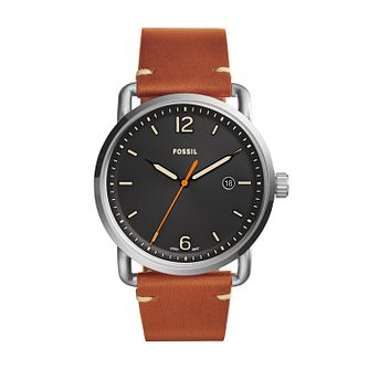 Fossil Men's Black Dial Brown Leather Strap Watch - Product number 9808612