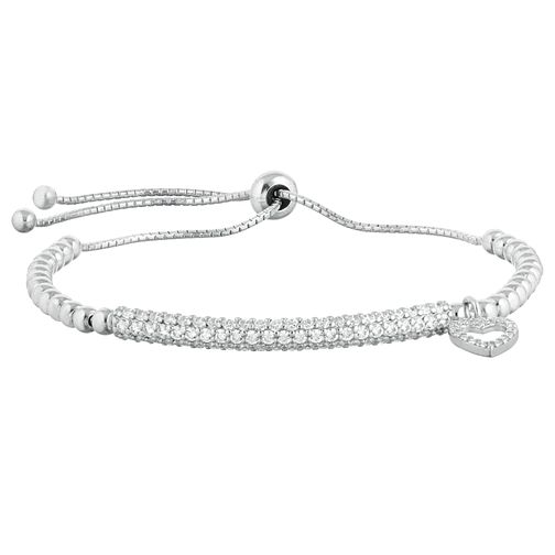 Sterling Silver Cubic Zirconia Heart Adjustable Bracelet - Product number 9808892