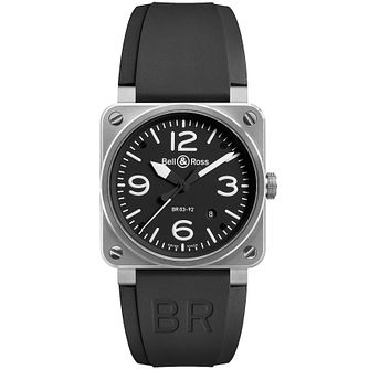 e4443b041220 Bell   Ross men s 42mm stainless steel black strap watch - Product number  9825061