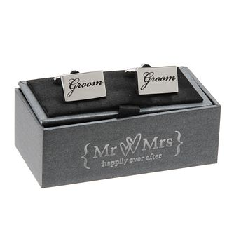 Mr & Mrs Special Memories Black Engraved Groom Cufflinks - Product number 9825843