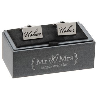 Mr & Mrs Special Memories Black Engraved Usher Cufflinks - Product number 9825851