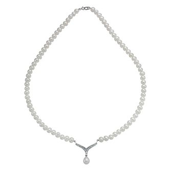 Sterling Silver Cultured Pearl & Cubic Zirconia V Necklace - Product number 9898409
