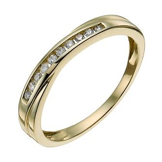 9ct yellow gold 1/10ct diamond crossover eternity ring - Product number 9908730