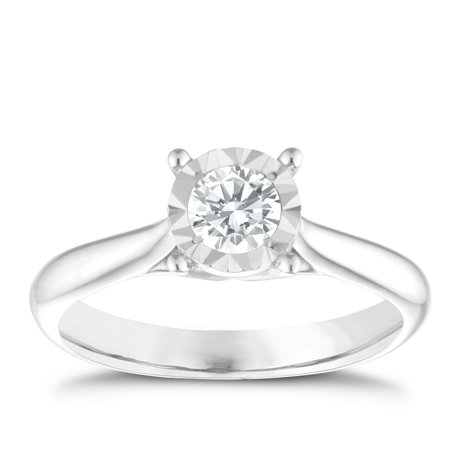 9ct White Gold 0.33ct Diamond Solitaire Ring - Product number 9910581