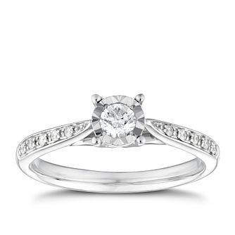 9ct White Gold 0.33ct Total Diamond Solitaire Ring - Product number 9910727