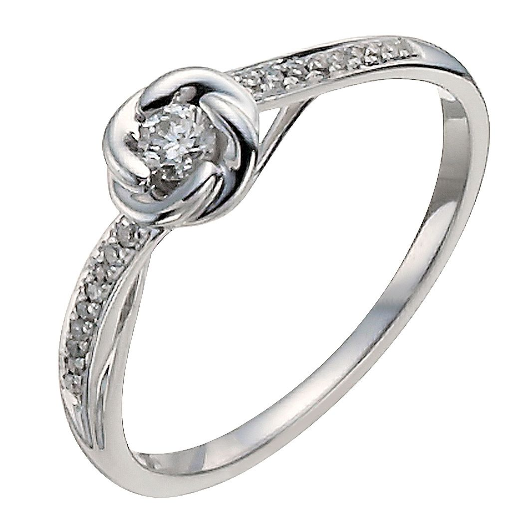 9ct White Gold 0.15ct Diamond Flower Solitaire Ring - Product number 9911413