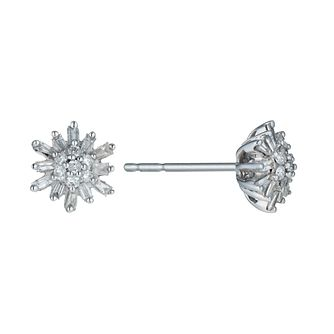 9ct White Gold 0.25ct Total Diamond Snowflake Stud Earrings - Product number 9916008