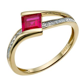 9ct Yellow Gold Created Ruby & Diamond Ring - Product number 9916083