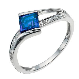 9ct White Gold Created Sapphire & Diamond Ring - Product number 9916245