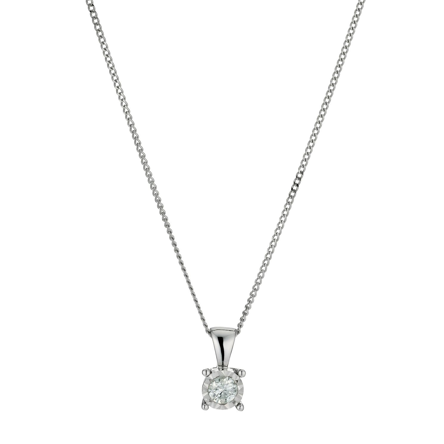9ct White Gold 1/5 Carat Solitaire Pendant Necklace - Product number 9917187