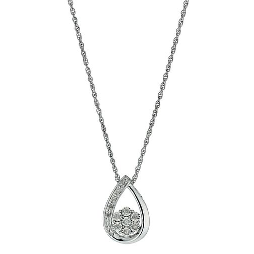 Argentium Silver Illusion Set Diamond Pendant Necklace - Product number 9921052