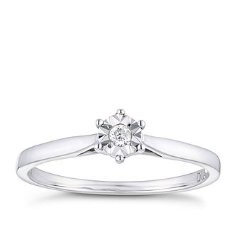 9ct White Gold Illusion Set Diamond Solitaire Ring - Product number 9922067