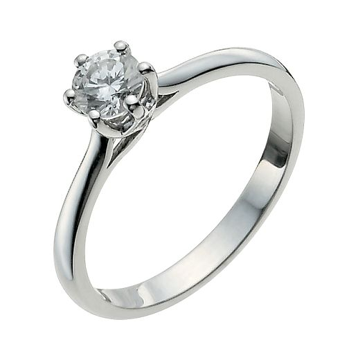9ct White Gold One Third Carat Diamond Solitaire Ring H Samuel