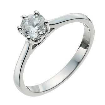 9ct White Gold Half Carat Diamond Solitaire Ring - Product number 9924302