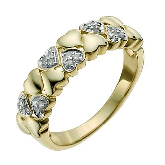9ct Yellow Gold 1/10 Carat Diamond Heart Eternity Ring - Product number 9927441