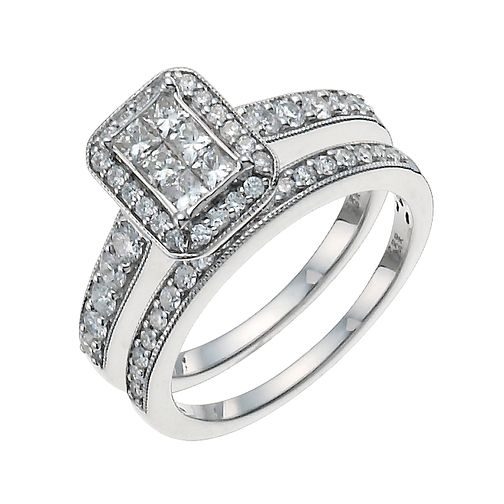 9ct White Gold 1ct Diamond Perfect Fit Bridal Set - Product number 9929584