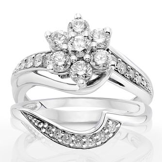 9ct White Gold 1ct Diamond Perfect Fit Bridal Set - Product number 9929711
