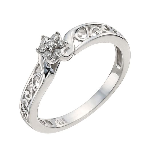 Cherished Argentium Silver Diamond Flower Ring - Product number 9930620