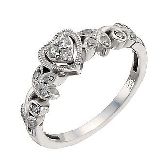 Cherished Argentium Silver 0.12ct Diamond Heart Ring - Product number 9931155