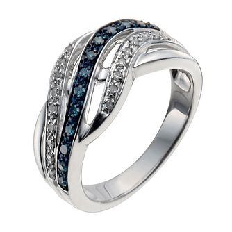 Sterling Silver 1/5 Carat White & Treated Blue Diamond Ring - Product number 9935126