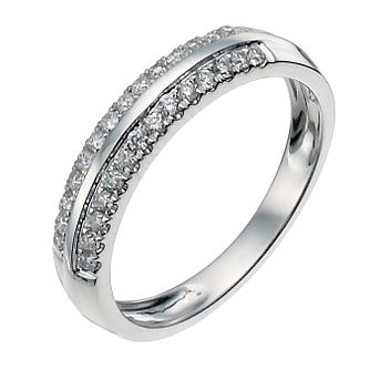 9ct white gold two row 0.25ct diamond ring - Product number 9946683