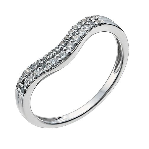 18ct white gold 0.20ct diamond shaped band - Product number 9947752