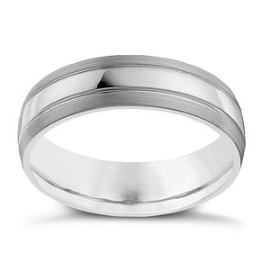 Palladium 950 three row 6mm matte & polished band ring - Product number 9951083