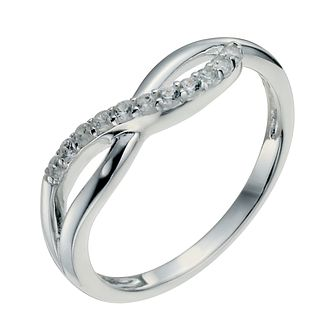 Sterling Silver & Cubic Zirconia Crossover Ring Size N - Product number 9953841