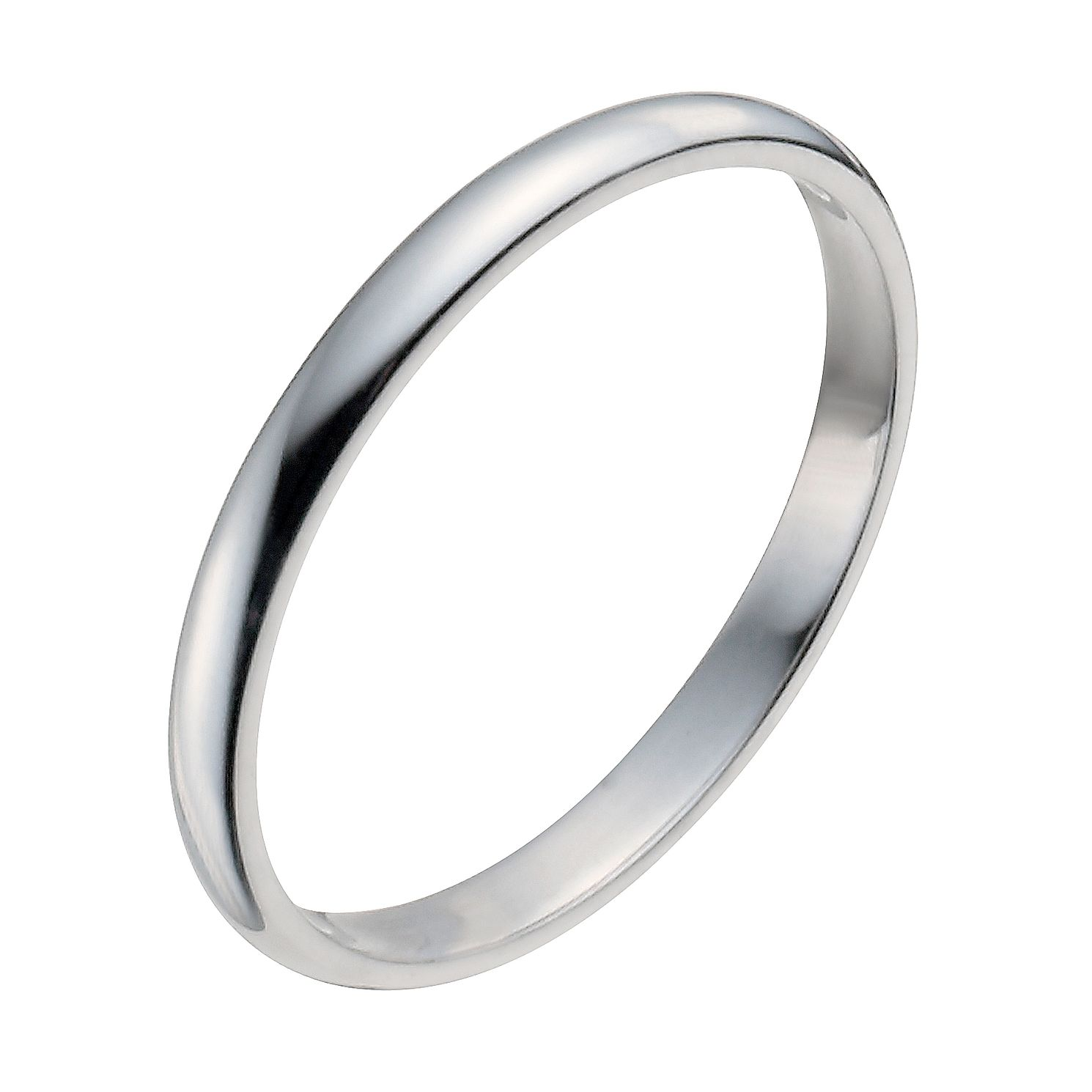 9ct White Gold 2mm Extra Heavy D Shape Ring - Product number 9954112
