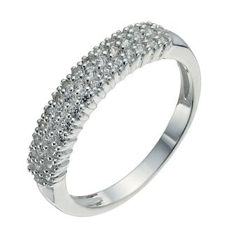 Sterling Silver & Cubic Zirconia Band Ring Size P - Product number 9954740