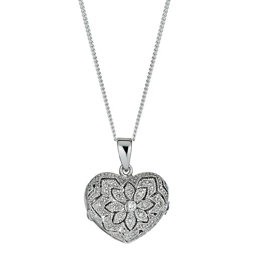 Sterling Silver Pave Cubic Zirconia Heart Locket Necklace - Product number 9955070