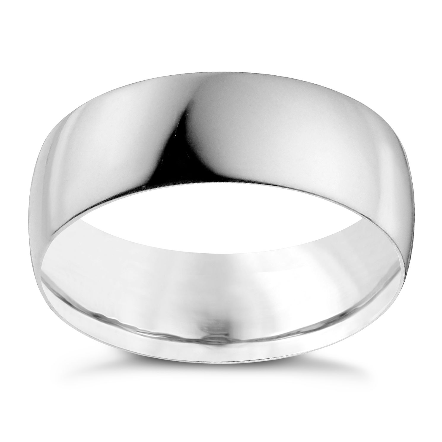 9ct White Gold 7mm Heavy D Shape Ring - Product number 9955089