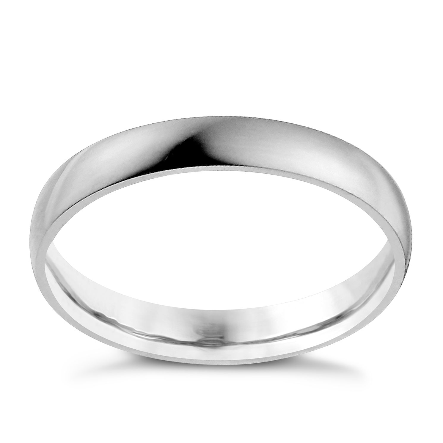Palladium 950 3mm Extra Heavy D Shape Ring - Product number 9957375