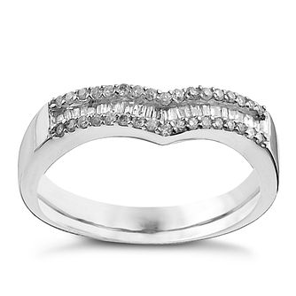 9ct White Gold Shaped Quarter Carat Diamond Ring - Product number 9959017